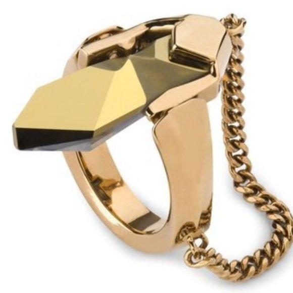 NEW Jean Paul Gaultier Swarovski Reverse Ring 8